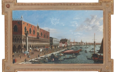 MANNER OF GIOVANNI ANTONIO CANAL, IL CANALETTO, A view of the Riva della Schiavone, Venice, with the Palazzo Ducale, elegantly dressed figures and gondolas in the foreground