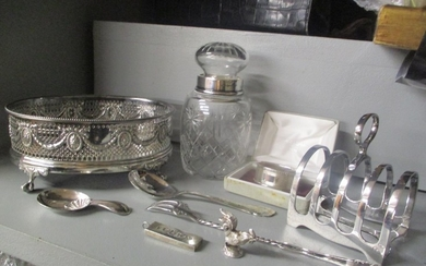 Mixed silver and silver plate to include an ingot, napkin ri...