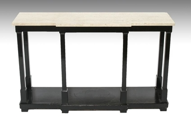 Modern Travertine & Ebonized Wood Console Table