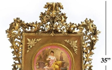 Monumental 19th C. Royal Vienna Framed Plate
