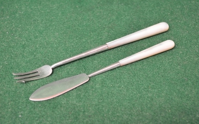 Mother of pearl silver handled butter knife and pickle fork,...