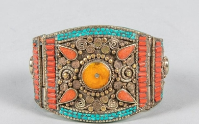 Native American Type Turquoise & Coral Like Bracelet