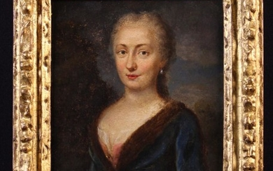 Northern European School, Circa 1700. An Oil on Panel: Half length Portrait of an Aristocratic Lady