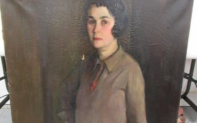 Oil on Canvas Portrait of Standing Woman
