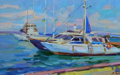 Oil painting Near the pier Tepeta Miacheslav