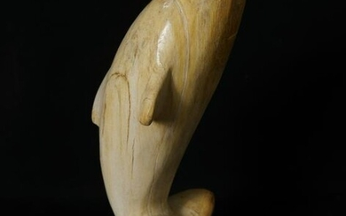 Outstanding Petrified Wood Sculpture of a Dolphin