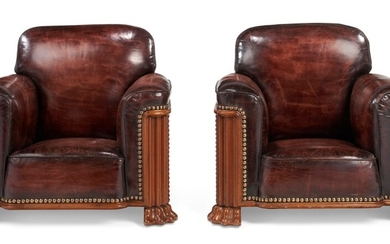 PAIR OF MAHOGANY AND LEATHER CLUB CHAIRS, CIRCA 1930, PROBABLY CENTRAL EUROPE