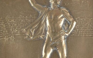 """PARIS 1900. Bronze plaque. """"Physical Education"""" offered by..."""