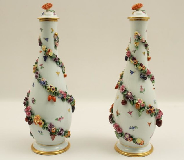 PR. OF GERMAN MEISSEN PORCELAIN CAPPED VASES