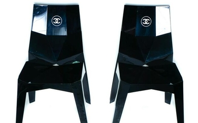 Pair, Black Polycarbonate CHANEL Stacking Chairs