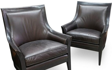Pair Of Bernhardt Leather Chairs