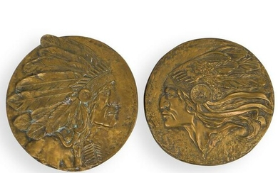Pair Of Bronze Indian Chief Relief Plaques