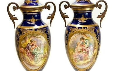 Pair Sevres Double Handled Decorative Urns, circa 1900