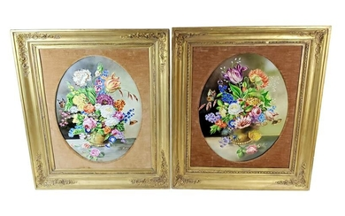 Pair of 19th C. KPM Floral Porcelain Plaques Signed J.