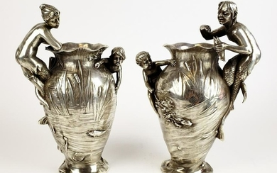Pair of 19th C. Silverplated Figural Vases
