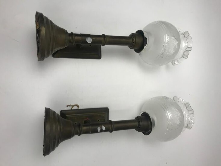 Pair of Antique Brass Wall Sconces