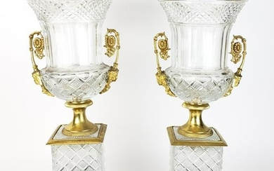 Pair of Large Bronze & Crystal Vases with Malachite