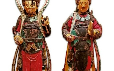 Pair of Magnificent 12th C. Hand Carved Gilt Polychrome