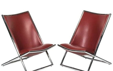 Pair of Ward Bennett Leather Scissor Chairs, Modern