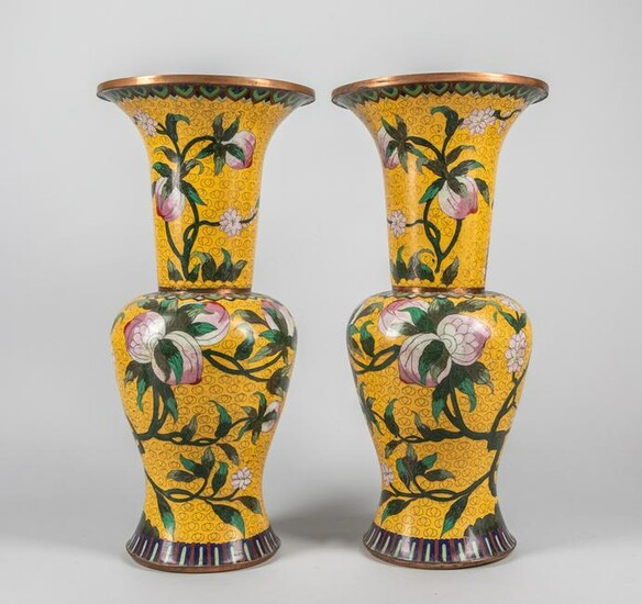 Pairs of Tall Chinese Antique Cloisonne Vase