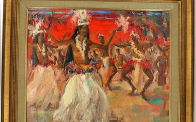 """Paul DAXHELET (1905-1993) """"Hawaiian dancers on orange background"""", oil on canvas, signed lower right, 50 x 60 cm"""