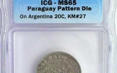 RARE PARAGUAY 18xx 20 CENTS ON ARGENTINA 20C -PATTERN