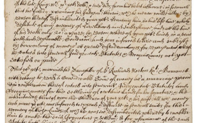 Regicide.- Norton (Sir Gregory, regicide).- To the right honourable the Comittee of Parliament to whome the bill of attainting of Oliver Cromwell & others..., manuscript, [c. 1660].