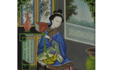 Robed female in an interior, Chinese reverse glass painting,...