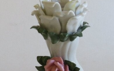 Rococo Style Porcelain Candle Holder Rose Design