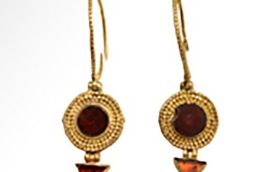 Roman Gold and Garnets Earrings, c. 1st Century A.D.