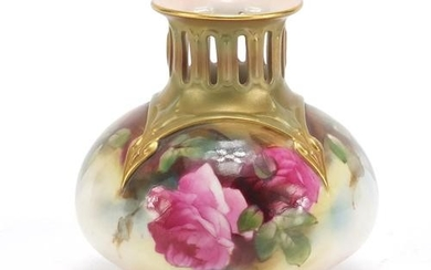 Royal Worcester vase hand painted with roses, factory