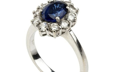 SAPPHIRE AND DIAMONDS RING