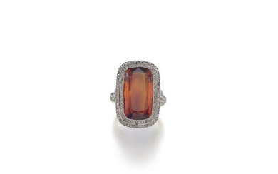 SYNTHETIC CITRINE AND DIAMOND RING