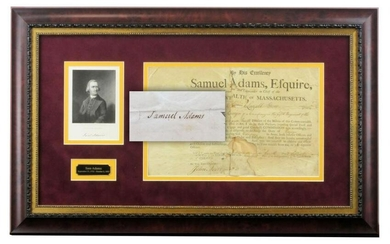 Sam Adams Boldly Signed Document, Superb Display!