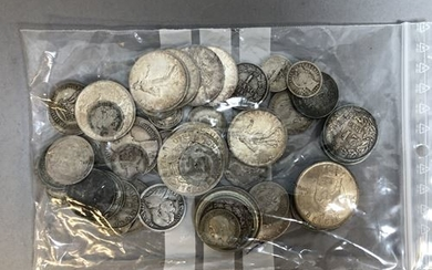 Set of silver coins, France, England, Switzerland... 19th...