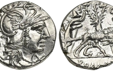 Sex. Pompeius Fostlus, Denarius, Rome, 137 BC. AR (g 3,89; mm 19; h 8). Helmeted head of Roma r.; capis to l., denomination mark before, Rv. She-wolf standing r., head l., suckling the twins (Remus and Romulus); to l., shepherd Faustulus standing r.;...