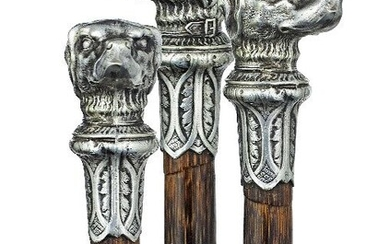 Silver Dog Head Cane