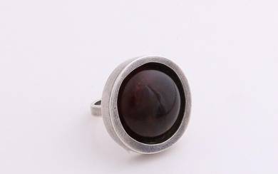 Silver ring, 925/000, with succinic. Ring occupied with