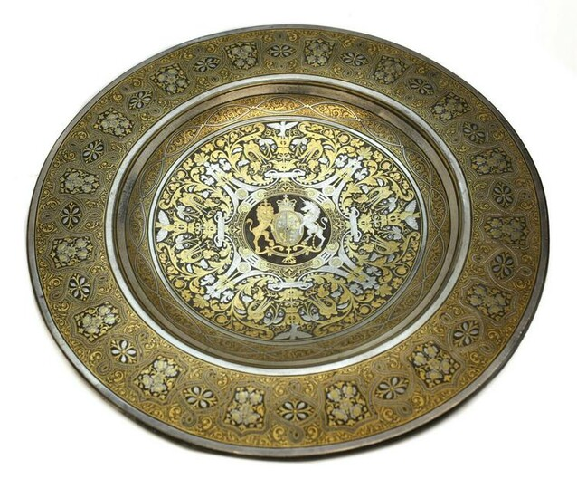 Spanish Toledo Silver Gold Damascene Steel Dish