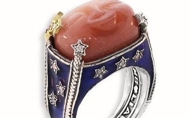 Stambolian Aged Silver & 18K Gold Ring Moon Face Peach