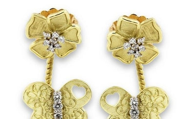Stambolian Two-Piece Yellow Gold and Diamond Earrings