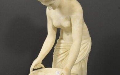 Statue of a young lady with a basket in alabaster, late 19th century, unsigned, small missing (height 55 cm)