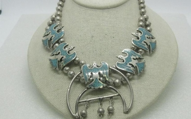 Sterling Turquoise Squash Blossom Necklace, Peyote