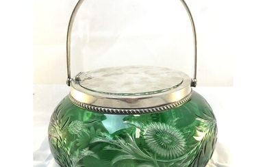 Stevens and Williams - A silver mounted green overlay glass ...