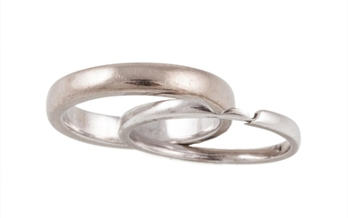 TWO 18CT WHITE GOLD BAND RINGS, size K and J
