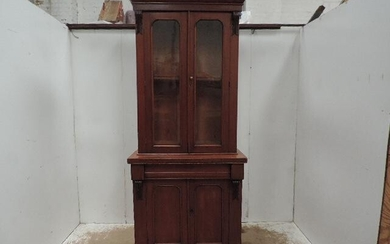 Tall Victorian Mahogany Double Glass Door Bookcase with Drawer...
