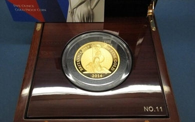 The Royal Mint 2014 Britannia 5oz Gold Proof Coin, certified...