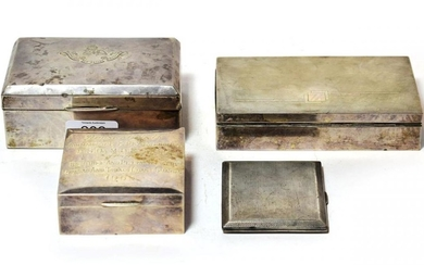 Three various silver cigarette-boxes and a silver cigarette-case, the cigarette-boxes...