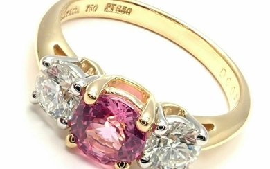 Tiffany & Co 18k Gold Platinum Three Stone Diamond Pink
