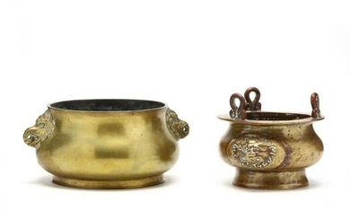 Two Chinese Bronze Censer Bowls